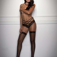 iCollection Lingerie Scallop Lace Open Crotch Cheeky panty