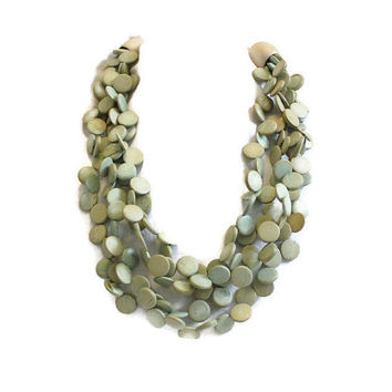 1980's Multi Strand Wood Bead Necklace In Pale Green, Layered Necklace, Statement Necklace