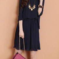 Deep Blue Pleated Puff Sleeve Chiffon Dress XX0006