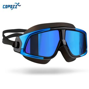 Copozz Swim Goggles for Men Women's Glasses Anti-Fog UV Large Frame Adults Sport Waterproof Silicone swimming goggles Eyewear