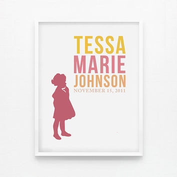 Custom Silhouette Name Print, Personalized Girl Children Wall Art, Art for nursery 8x10 poster