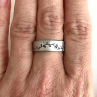 Vine Hand Stamped Ring, silver adjustable band wide leaves vines floral aluminum birthday graduation gift gifts for her
