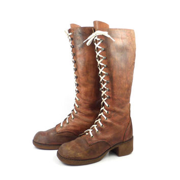 Lace Up Boots Vintage 1970s Tall Distressed Brown Leather Women's  size 6 1/2