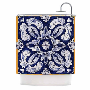 "Oriana Cordero ""Lisboa"" Blue Yellow Shower Curtain"