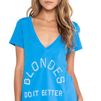Rebel Yell Blondes Do It Better Classic V Tee in Blue