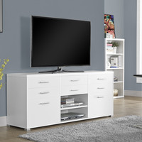 "White Hollow-Core 60""L TV Console with 8 Drawers"