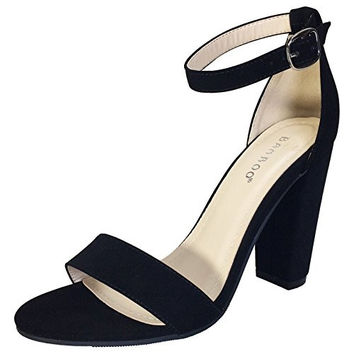 BAMBOO Women's Single Band Chunky Heel Sandal With Ankle Strap black strapped heels with no heel