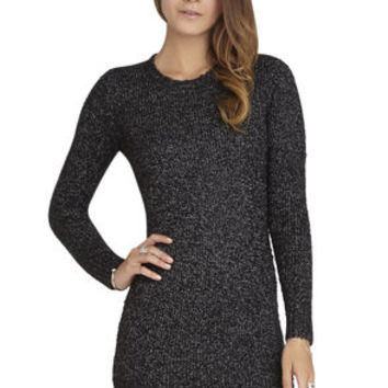 Two-Tone Boucle Tunic Dress in Black - BCBGeneration