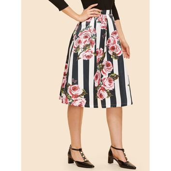 Rose & Striped Print Box Pleated Skirt