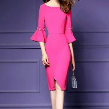 Bell Sleeve Appliques Women's Sheath Dress