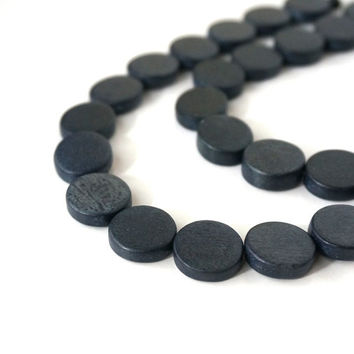 Flat Round Wood Beads, 15mm slate blue, eco-friendly wooden beads (773R)
