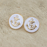 White Enamel Anchor Earrings [4376] - $9.00 : Vintage Inspired Clothing & Affordable Summer Frocks, deloom | Modern. Vintage. Crafted.