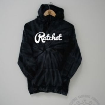 Tie Dye Hoodie (Pitch Black) - Ratchet Clothing