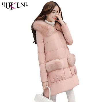 HIJKLNL camperas de plumas para mujeres 2017 Winter Women Hooded Long Feather Down Jacket Coat With Fur Collar Cloak Parka NA487