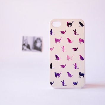 iPhone 4 Case - iPhone 4s Case - Galaxy Cat iPhone 4 Case - Cat iPhone Case over Galaxy Print - Plastic iPhone 4 Case - Gifts for Her