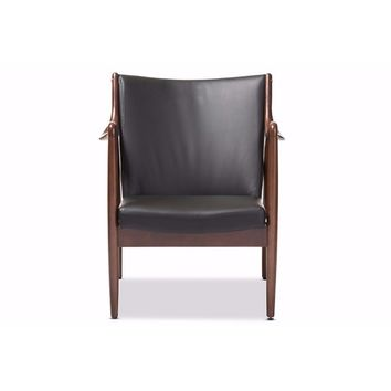 Shakespeare Mid-Century Black Faux Leather Upholstered Leisure Accent Chair By Baxton Studio