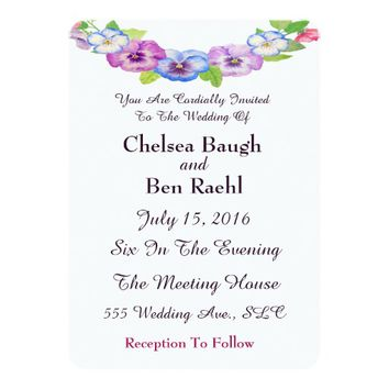 Chic Pink & Purple Watercolor Pansies Wedding Card