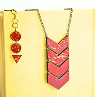 Wooden necklace Color block jewelry Chevron necklace Red wooden hand painted summer color jewelry