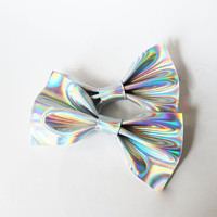 Faux Leather Holographic Hair Bow Set