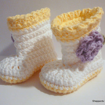 Baby Flower Boots - White, Yellow, Purple - 0-3 Months