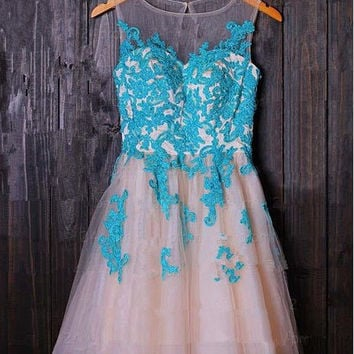Applique Short Tulle Prom Dresses/Homecoming Dress