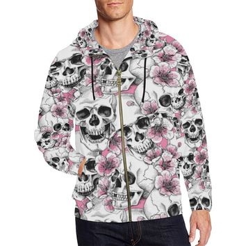 Skull & Flowers Design 1 Men's All Over Print Full Zip Hoodie