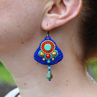 Turquoise Red Earrings Ancient Egypt inspired Bead Embroidered Earrings Egyptian Earrings Beadwork Seedbead Earrings Bead Embroidery jewelry