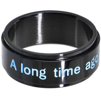 Licensed Black IP Star Wars A Long Time Ago Spinner Ring | Body Candy Body Jewelry