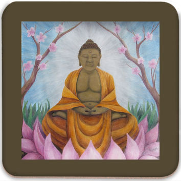 Buddha - Coasters (Set of 4) of Acrylic Paint and Watercolor Pencil Fine Art
