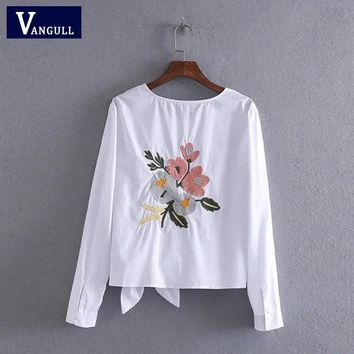 Vangull Women cotton embroidery white blouse O- neck bow back flowers embroidered shirt Summer Casual Shirts female tops