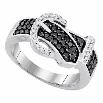 10kt White Gold Womens Round Black Color Enhanced Diamond Belt Buckle Band Ring 1/2 Cttw