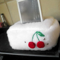 Plush Cell Phone, iPhone Holder Pouch Stand- Cherries