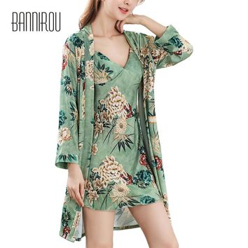 Spring Woman Robes Set Silks Satins Chiffon Flowers Green Thin Full Loose Bathrobes Two-piece Suit Female Nightgowns Autumn 2018