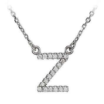 1/10 Cttw G-H, I1 Diamond initial Necklace in 14k White Gold, Letter Z