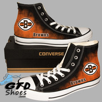 Hand Painted Converse. Cleveland Browns. Ohio State. Football. Handpainted shoes