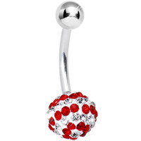 Striped Red Austrian Crystal Evolution Belly Ring | Body Candy Body Jewelry