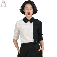 White Black Contrast Long Sleeve Turn Down Shirt Collared Casual Women Shirt Blouse 2016 Spring New Women Fashion