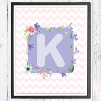 Initial Art, Customized Baby Art, Wall Art Nursery Letters, Baby Name, ABC Letters, Alphabet Print, Letter K, Digital Download, 8''x10''