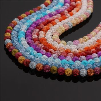 LINSOIR 1strand 6 8 10 12 mm Loose Crystal Glass Beads For Jewelry Making Round Natural Stone White Snow Cracked Beads F2150