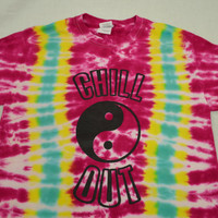 Tie Dye Shirt Yin Yang Chill Out Hippie Small Good Vibes Handmade Tie Dye Womens Clothing Fuchsia Yellow Tie Dye Groovy Soft Grunge Plur
