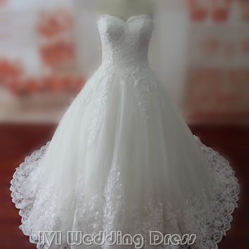 Real Samples Lace Wedding Dresses Sweetheart Bridal Gowns Custom Made Wedding Gown Vestido De Noiva