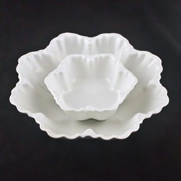 Haviland Limoges Ranson Salad Serving Bowls 2pc Set, Rare Deep, Flat Blank, Schleiger 1
