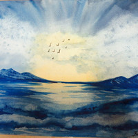 Blue Sunset Seascape Original Watercolor Painting