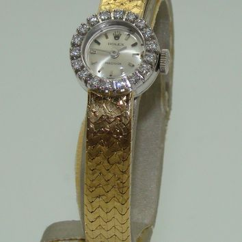 VINTAGE ROLEX WOMENS 18K WHITE GOLD MANUAL WIND DIAMOND BEZEL WATCH C. 1960's