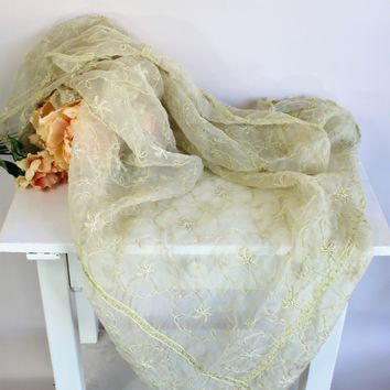 Vintage 1990s Indian Green Organza or Organdy Square Tablecloth With Pearls And Floral Embroidery