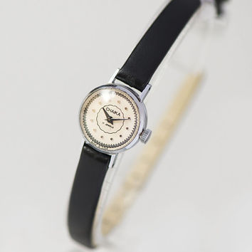 Women watch tiny Seagull, dotted face woman watch petite, silver shade watch jewelry, feminine watch small round, premium leather strap new