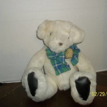 "vintage 1992 gund white victoria's secret teddy bear plush 11"" tall sitting"
