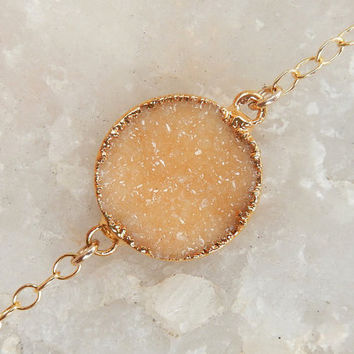 Champagne Druzy Bracelet 14K Gold Circle Crystal Quartz Peach Orange Drusy - Free Shipping OOAK Jewelry