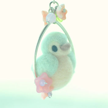 Needle felted bird jewelry, soft sculpture bird on pink flower hoop necklace, mint color, whimsical jewelry, gift under 25