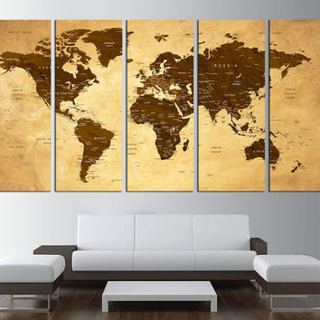 large world map push pin, rustic world map with countries canvas, push pin travel world map canvas print, extra large wall art,  t530